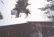 Snowboarding off the roof