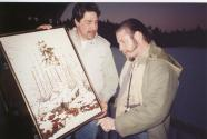 Chris, Presenting Steve with painting